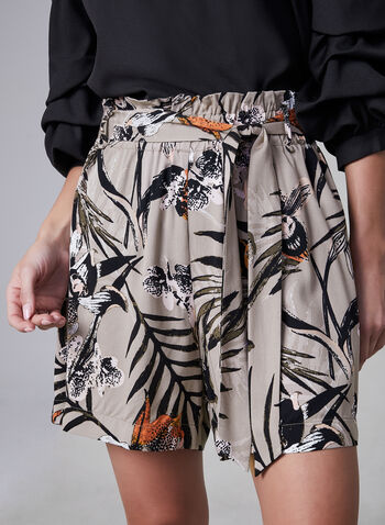 Tropical Print Shorts, Brown, hi-res