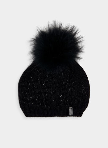 Glitter Knit Tuque, Black,  acrylic tuque, knit, hat, tuque, glitter, glitter tuque, faux fur tuque, faux fur, fall 2019, winter 2019