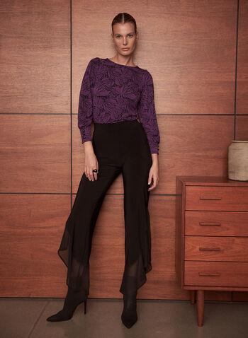 Pantalon bi-matière à jambe large, Noir,  automne hiver 2020, pantalon, jambe large, mousseline, jersey, bi-matière, taille élastique, à enfiler, pull-on, fait au Canada