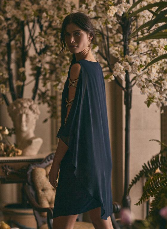 BA Nites - Robe en mousseline et détails cristaux, Bleu
