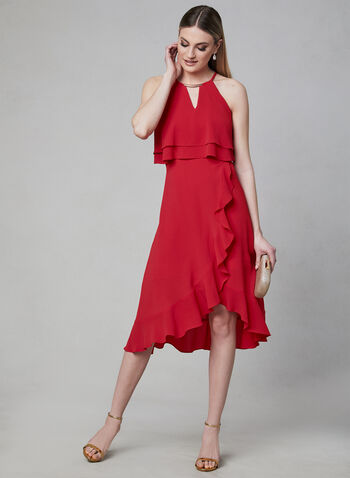 Kensie - Halter Neck Asymmetric Dress, Red, hi-res