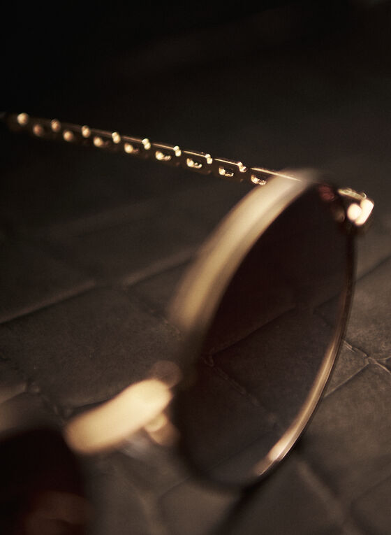 Chain Link Detail Round Sunglasses, Gold