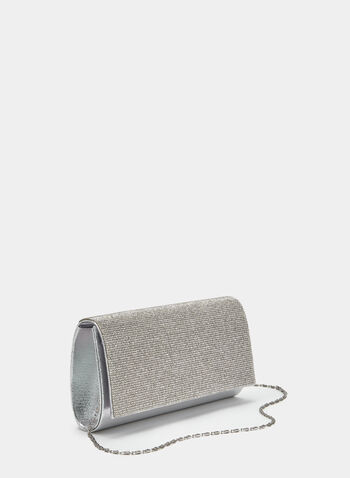 Crystal Embellished Flapover Clutch, Silver, hi-res
