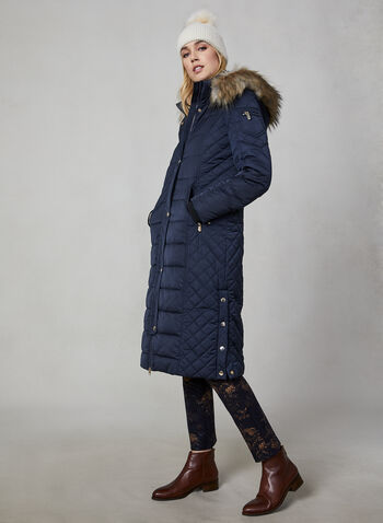 Chillax - Faux Down Quilted Coat, Blue,  Chillax, coat, outerwear, faux down, quilted, faux fur, removable hood, fall 2019, winter 2019