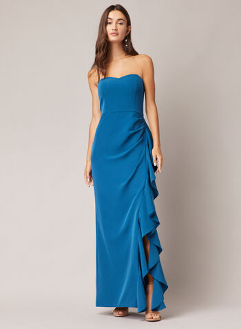 Bustier Cascade Gown, Blue,  evening dress, ruffled, cascade, bustier, strapless, crepe, fall winter 2020