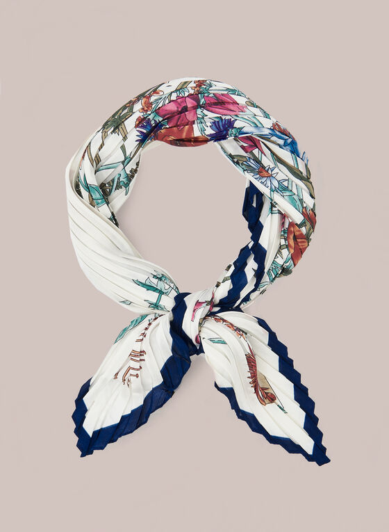 Floral Print Pleated Square Scarf, Multi