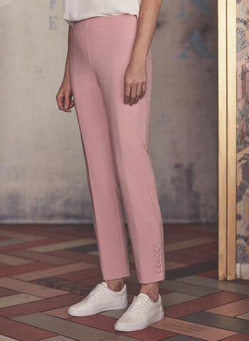 Slim Leg Pants, Pink,  pants, amber, slim legs, buttons, pleat, buttons, spring summer 2021