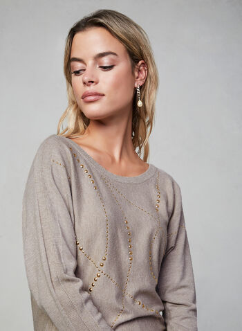 Studded Dolman Sleeve Sweater, Off White, hi-res,  long sleeves, knit, ribbed, studded, embellished, fall 2019, winter 2019