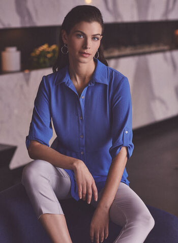 Joseph Ribkoff - Layered Hem Tunic Blouse, Blue,  top, tunic, blouse, 3/4 sleeves, gathered, shirt collar, button down, layered, tiered, high low, hammered, ruffled, ribkoff, lyman, spring summer 2021