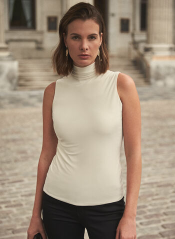 Sleeveless Turtleneck Top, Off White,  Sleeveless, jersey, turtleneck, fitted, made in Canada, Fall 2020