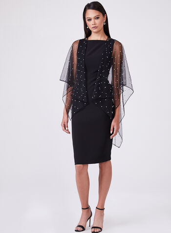 Karl Lagerfeld Paris - Pearl Embellished Open Front Poncho , Black, hi-res