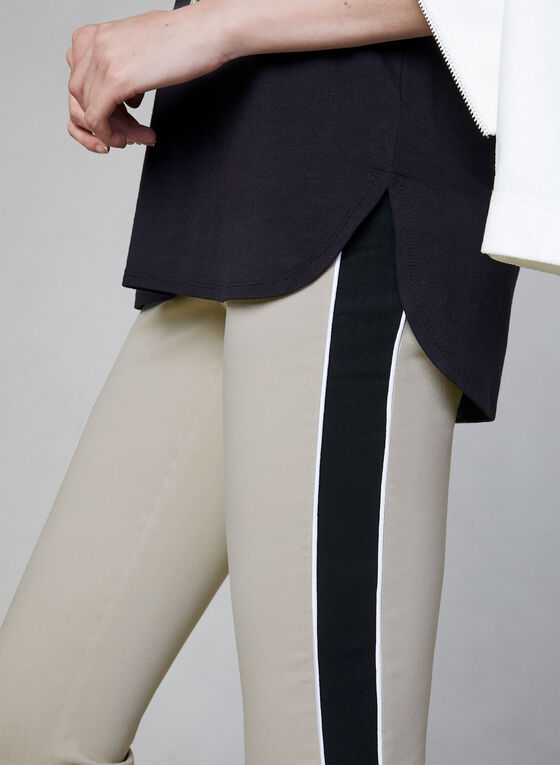 Contrast Trim Capri Pants, Off White, hi-res