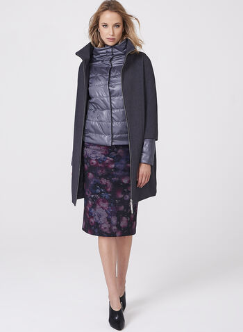 Stand Collar Coat with Puffer Vest, Grey, hi-res