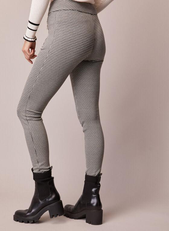 Pantalon étroit à motif pied-de-poule, Noir