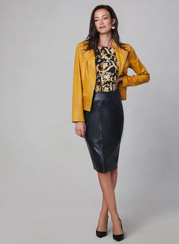 Faux Leather Pencil Skirt, Black, hi-res,  wiggle, vegan, pull-on, stitching, fall 2019, winter 2019
