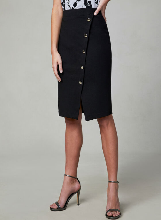 Button Detail Pencil Skirt, Black, hi-res
