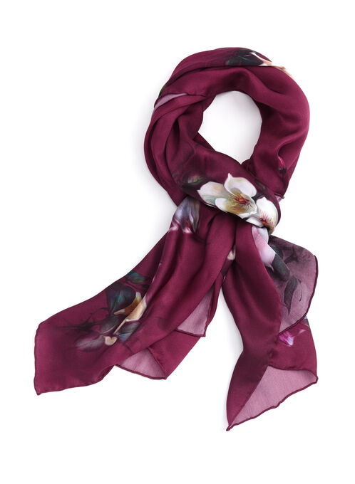 Floral Print Sheer Silk Scarf, Red, hi-res