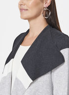 Colour Block Knit Cardigan, Grey, hi-res