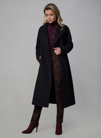 Belted Wool-Like Coat, Black,  fall winter 2019, faux wool, belt, wrap coat