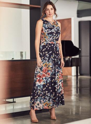 Donna Ricco - Robe sans manches à motif floral , Bleu,  robe, occasion, donna rico, maxi, motif, imprimé, fleurs, floral, ceinture, mousseline, sans manches, printemps été 2021