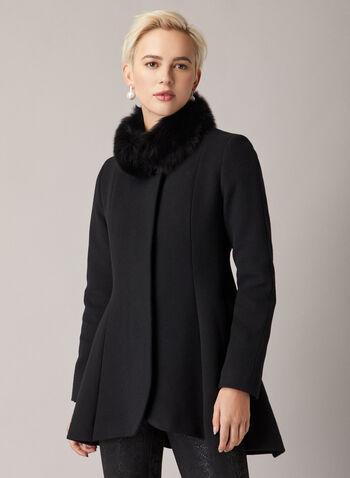 Mallia - Manteau évasé à col en fourrure, Noir,  manteau, laine, cachemire, fourrure, col montant, ajusté évasé, automne hiver 2020