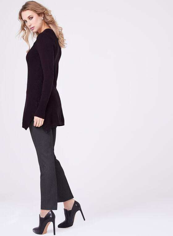 V-Neck Knit Tunic , Purple, hi-res