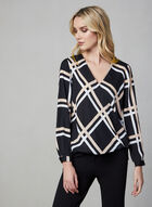 Plaid V-Neck Blouse, Black