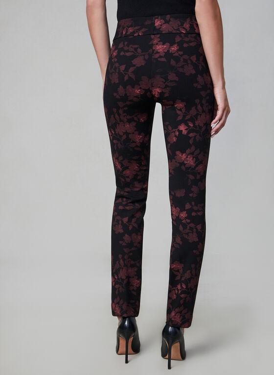 Pantalon coupe Madison à fleurs, Noir, hi-res