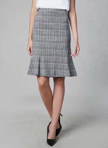 Plaid Print Skirt, Grey, hi-res,  skirt, plaid print, trumpet, fall 2019, winter 2019