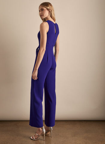 Vince Camuto - Sleeveless Crepe Jumpsuit, Blue,  jumpsuit, sleeveless, crepe, scoop neck, wide leg, pockets, spring summer 2020
