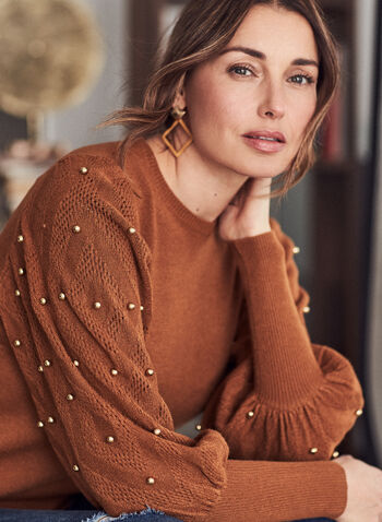 Beaded Balloon Sleeve Sweater, Brown,  fall winter 2020, sweater, beaded, bead detail, balloon sleeve, pointelle, ribbed, ribbing, long sleeve, warm, comfort, stretch, wide cuff, scoop neck