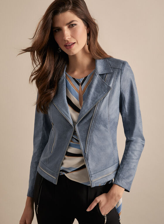 Vex - Zipper Detail Faux Leather Jacket, Blue