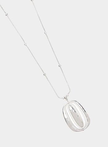 Collier sautoir à pendants anneaux, Argent, hi-res