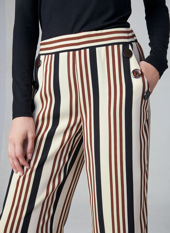 Stripe Print Wide Leg Pants, White, hi-res,  pants, wide leg, palazzo, pull on, stripe print, fall 2019, winter 2019
