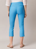 Stitch Detail Pull-On Capris, Blue
