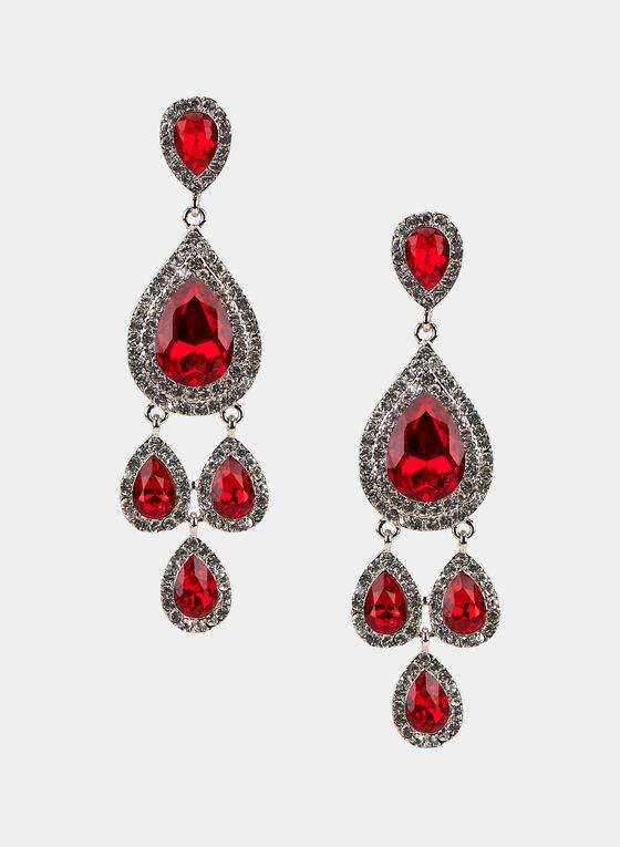 Faceted Crystal Dangle Earrings, Red, hi-res