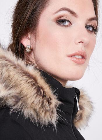 Manteau matelassé en duvet avec capuchon amovible , Noir, hi-res
