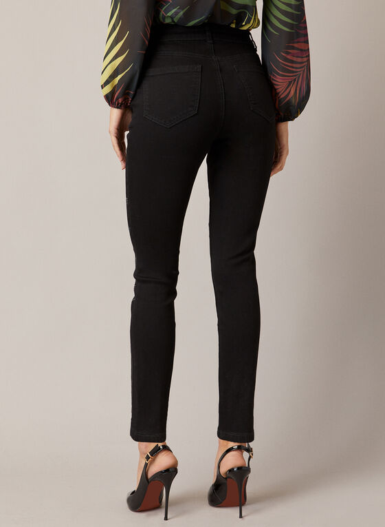 Jeans à jambe étroite et détails feuilles, Noir