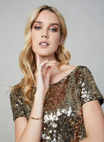 Marina - Ombré Sequin Dress, Black,  Marina, dress, cocktail dress, midi, ombré, short sleeves, sequin, fall 2019, winter 2019