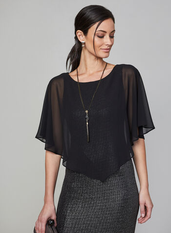 Frank Lyman - Chiffon Cape Glitter Dress, Black,  dress, Frank Lyman, chiffon cape, glitter, side slit, comfortable, fully lined, fall 2019