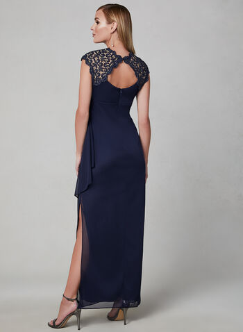 Alex Evenings - Draped Evening Dress, Blue, hi-res
