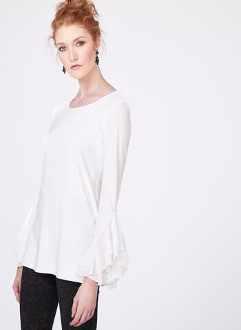 Ruffled Chiffon Jersey Top, Off White, hi-res