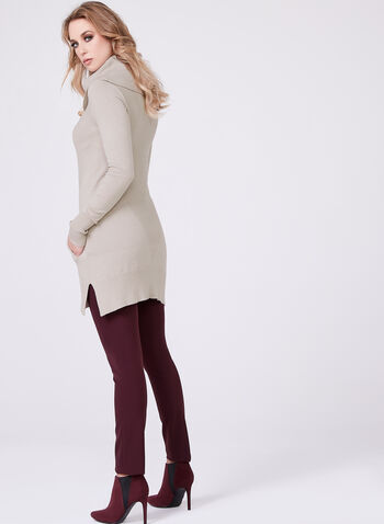 Cowl Neck Knit Tunic, Brown, hi-res