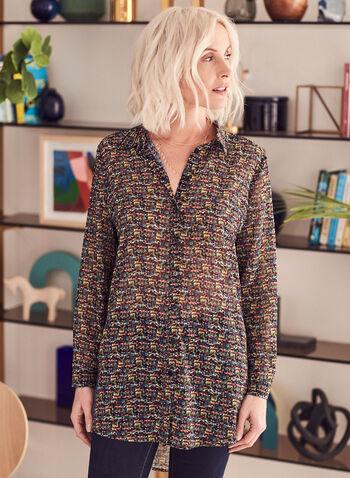 Tunique en mousseline à motif tweed, Multi,  tunique, tweed, mousseline, multicolore, ourlet, asymétrique, transparente, manches longues, printemps été 2021
