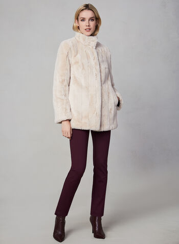 Novelti - Faux Fur Coat, Off White,  fall winter 2019, faux fur, stand collar, coat