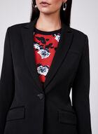 Notched Collar Long Blazer, Black, hi-res