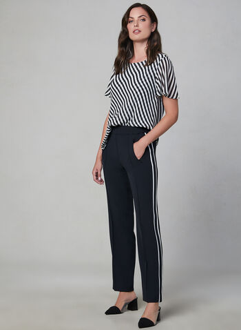 Stripe Print Flutter Sleeve Top, Black, hi-res,  short sleeves, flutter sleeves, stripe print, lined, fall 2019, winter 2019