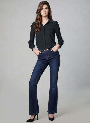 Sculpting Flare Leg Jeans, Blue,  boot cut, flare leg, mid rise, slim fit, 5 pockets, fall 2019, winter 2019