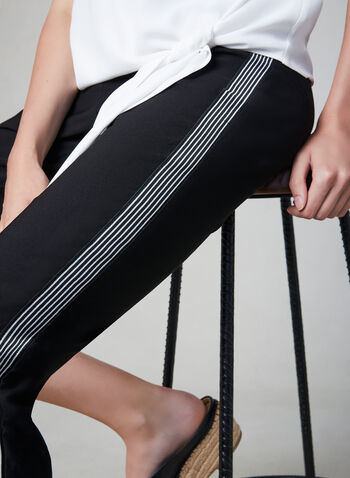 Contrast Trim Slim Leg Pants, Black,  pull-on, ankle length, stripe print, bengaline, fall 2019, winter 2019