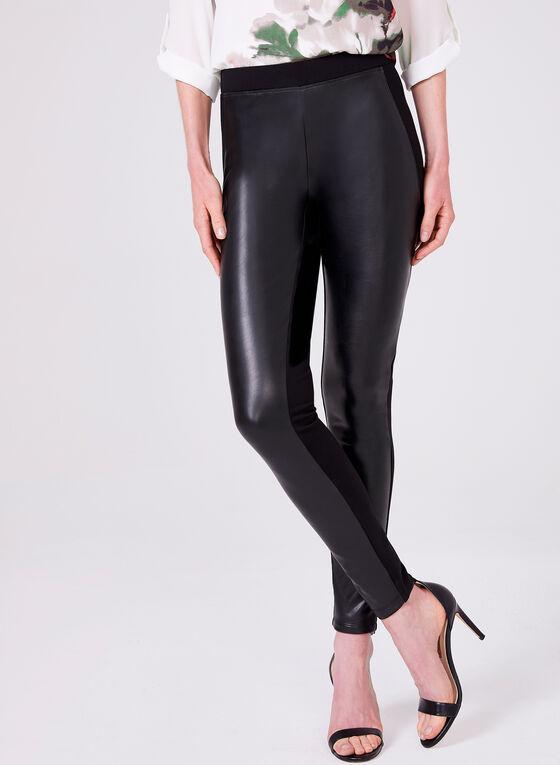 Pantalon à jambe étroite en similicuir, Noir